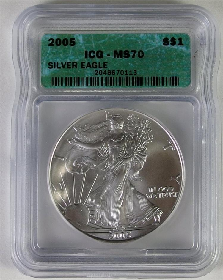 2005 Silver Eagle Graded  MS 70
