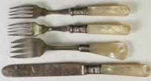 Lot 72: Sterling Banded Mother of Pearl Flatware