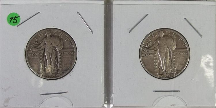 1927 & 1930 STANDING LIBERTY Quarters, very nice
