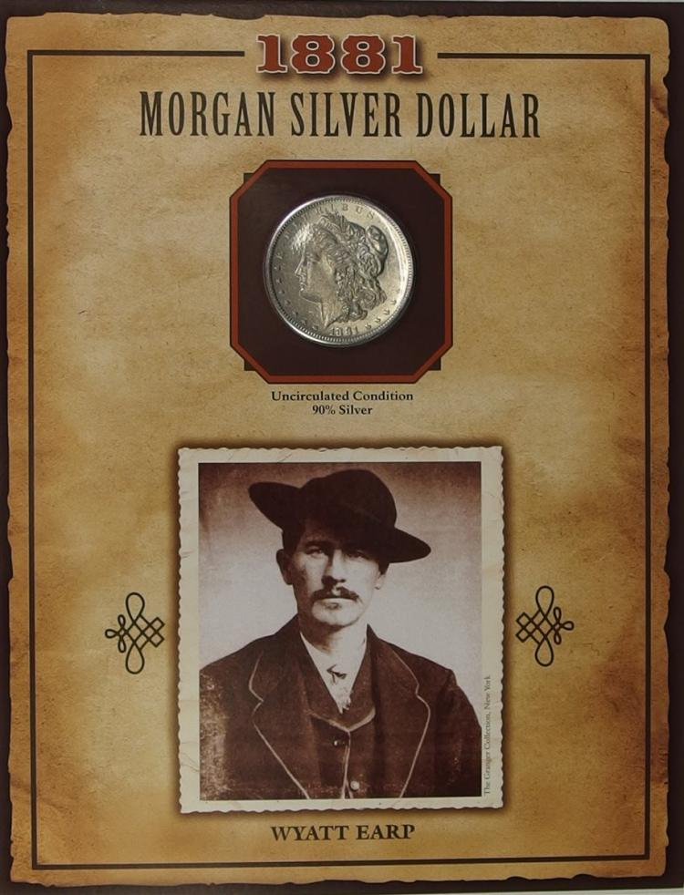 1881S MORGAN Silver Dollar - PCS Legends of West Coin & Stamp - WYATT ERP