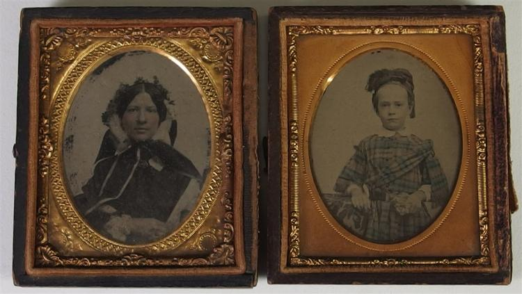 Lot of 2 - Antique  Daguerreotype Photographs & Frames