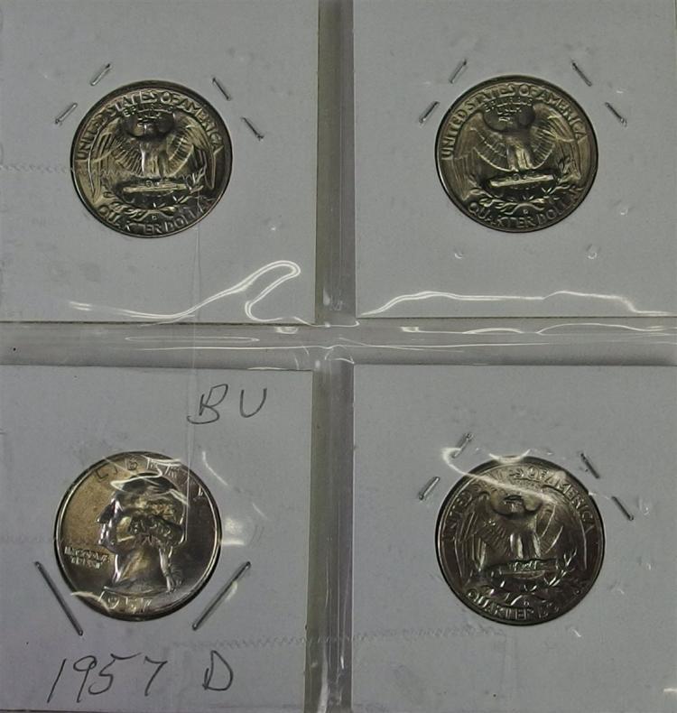 Lot 87: Lot of 4 - BU Washington 90% Silver Quarters