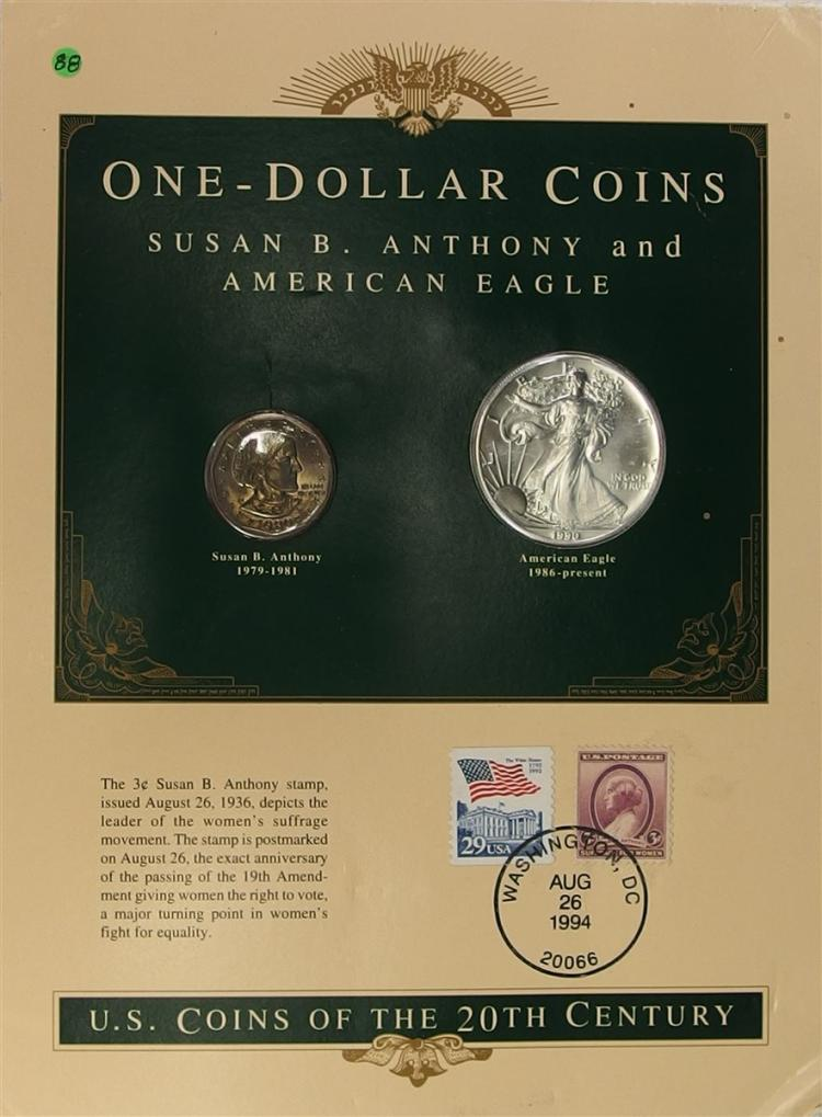 Lot of 2 - 1990 .999 Silver Eagle & Susan B. Anthony