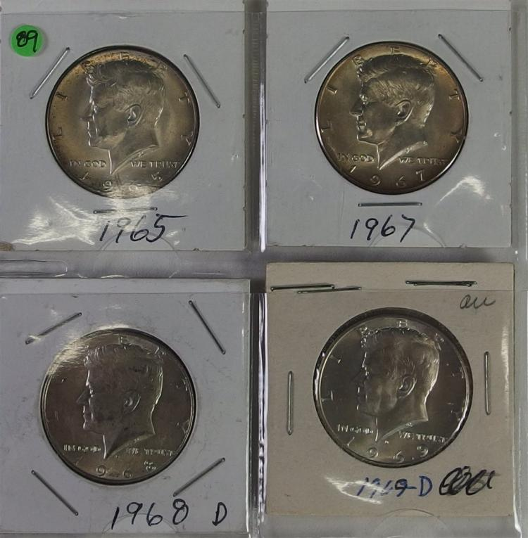Lot of 4 - Uncirculated KENNEDY Silver Half Dollars