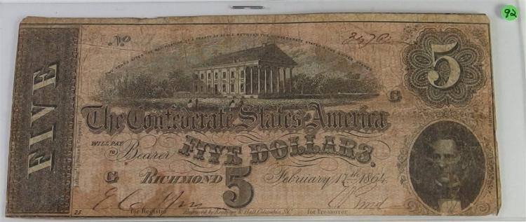 Confederate States of America Currency ($5) Five Dollar CSA Note