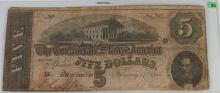 Lot 92: Confederate States of America Currency ($5) Five Dollar CSA Note