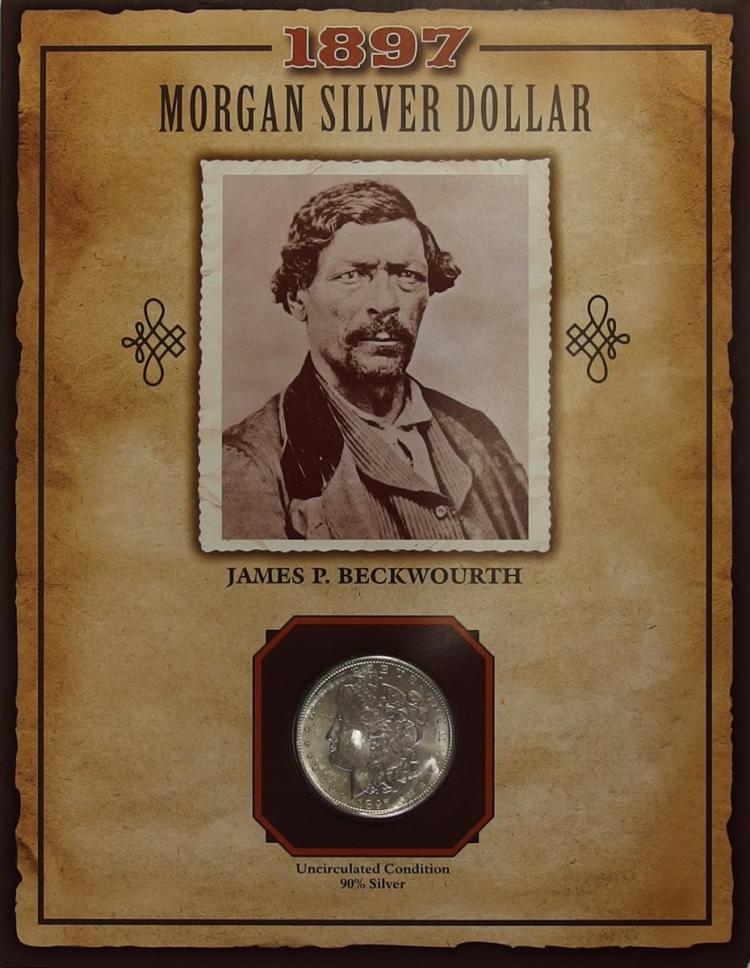 1897 MORGAN Silver dollar - PCS Legends of West Coin & Stamp JAMES P. BECKWOURTH