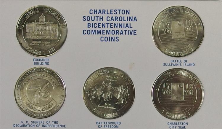 Lot of 5 - Coins honoring Charleston SC Bicentennial