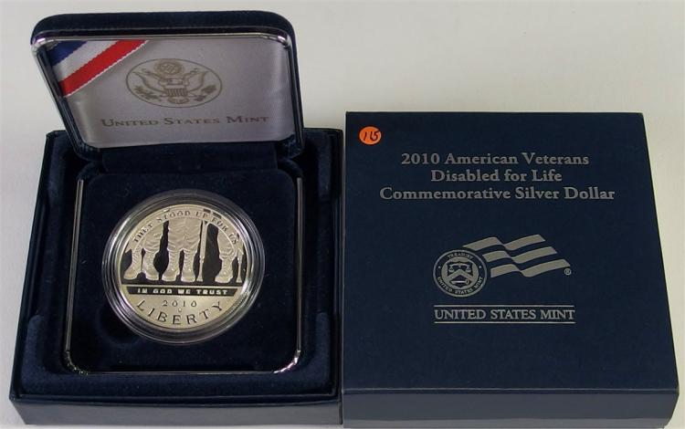 2010 90% Silver Dollar Honoring Disabled for Life USA Veterans