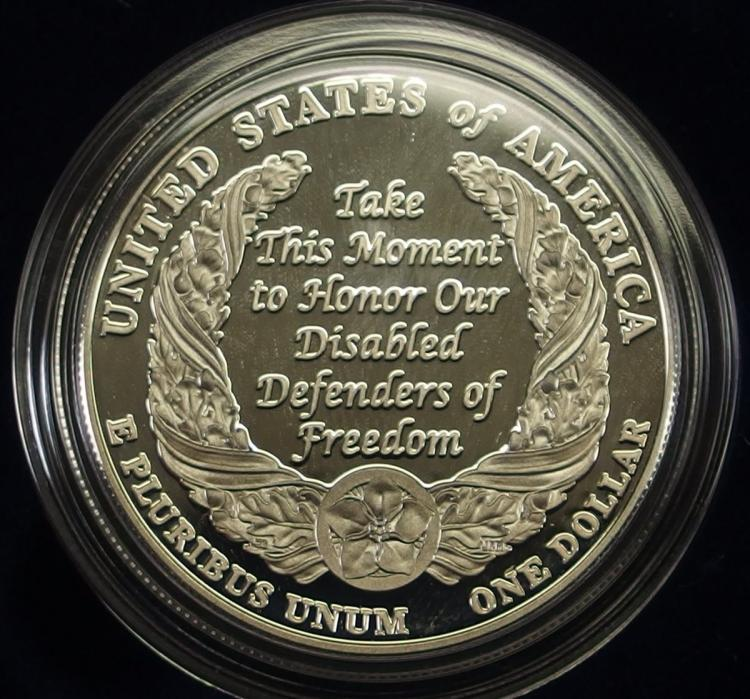 Lot 115: 2010 90% Silver Dollar Honoring Disabled for Life USA Veterans