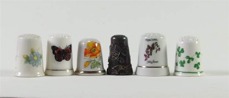 Lot of 6 - Collectible Thimbles (1 Sterling)