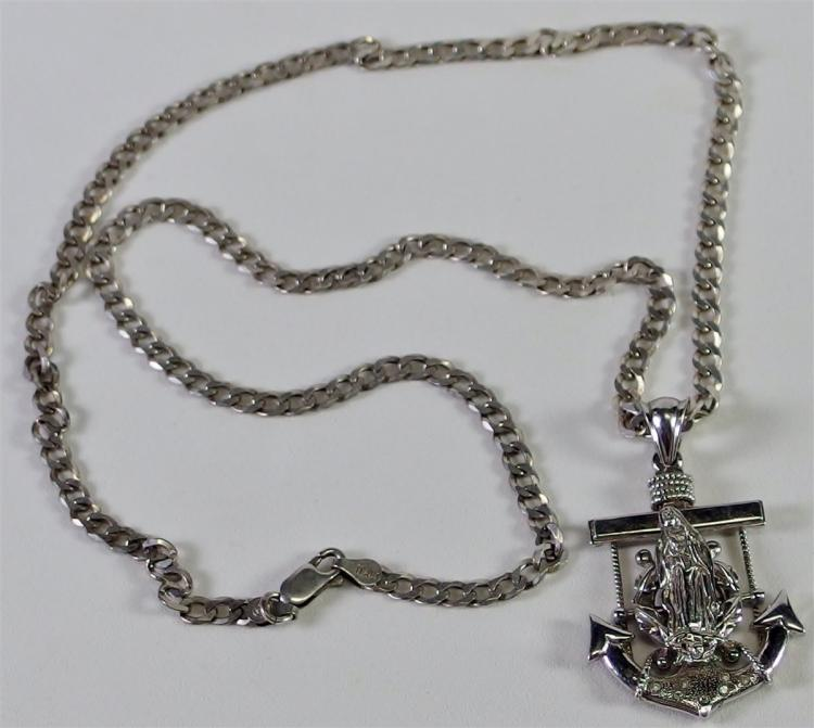 Sterling Silver Naval Anchor Necklace