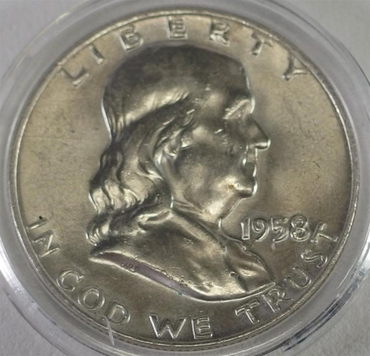 1958 D Ben Franklin Half Dollar Uncirculated