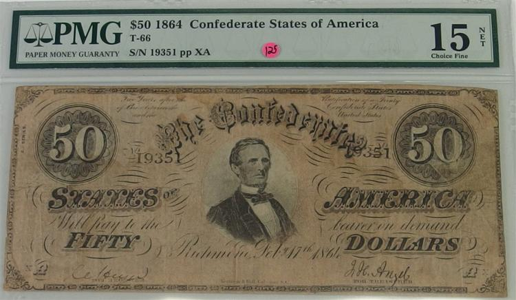 Confederate States of America Currency ($50) Fifty Dollar CSA Note, PMG Graded