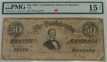 Lot 125: Confederate States of America Currency ($50) Fifty Dollar CSA Note, PMG Graded