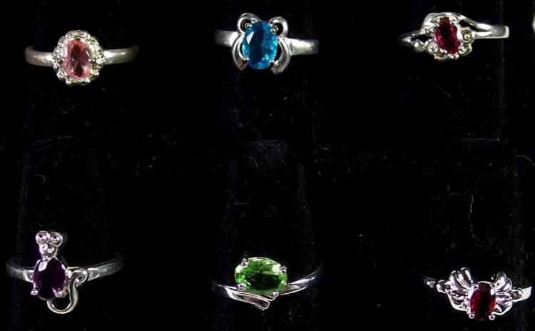 Lot 129: Lot of 12 - Sterling Rings Sizes 6-8