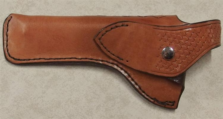 Lot 8K: Custom-made Hand-tooled Leather Holster for Large Revolvers, 6in. Barrels