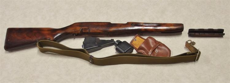 Lot 8M: Vintage Russian AK-47 Stock, Clip, Oil Bottle, Pouch with matching Serial Numbers