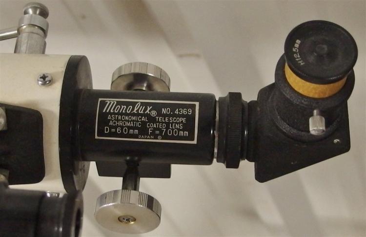 Lot 131: Vintage TELESCOPE with Wooden Tripod & RARE Sun Filter