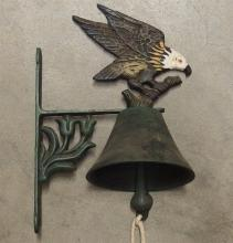 Lot 132: Cast Iron Farm Bell with Eagle