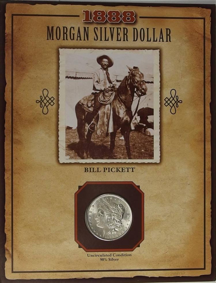 1888 MORGAN Silver Dollar - PCS Legends of the West Coin & Stamp BILL PICKET