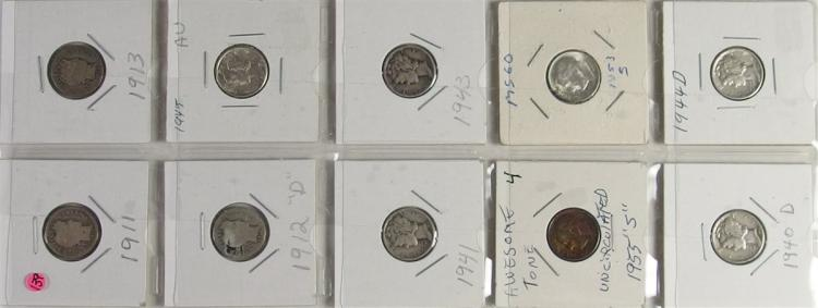 Lot of 10 - 90% Silver Dime Collection