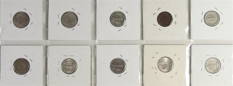 Lot 139: Lot of 10 - 90% Silver Dime Collection