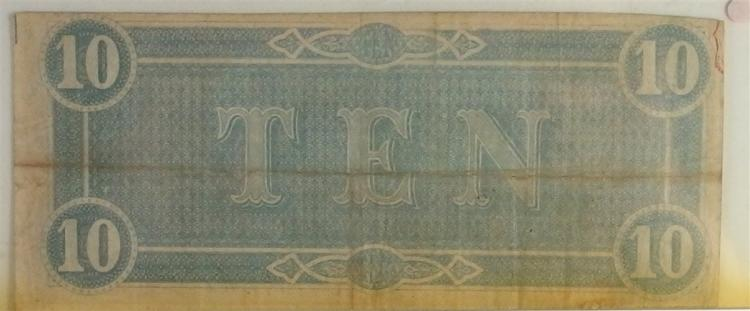 Lot 147: Confederate States of America Currency ($10) Ten Dollar CSA Note