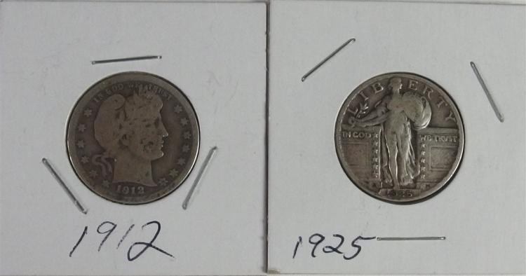 Lot of 2 - 1912 BARBER & 1925 STANDING LIBERTY Quarters