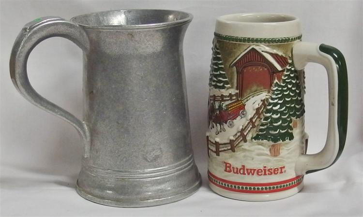 Lot of 2 - Pewter Pub Mug & 1984 Budweiser Stein