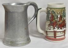 Lot 154: Lot of 2 - Pewter Pub Mug & 1984 Budweiser Stein