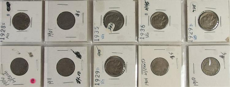 Lot of 10 - Buffalo and Victory Nickels