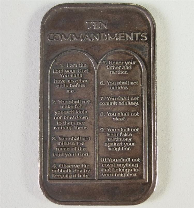 One Troy Ounce .999 SILVER Bar The Ten Commandments