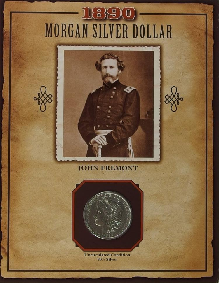 1890 MORGAN Silver Dollar - PCS Legends of West Coin & Stamp JOHN FREMONT