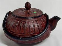 Lot 169: Cast Iron Hallmarked Asian Teapot