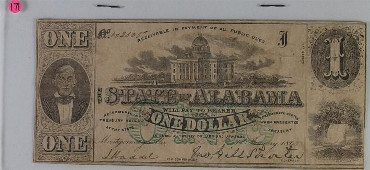 Lot 171: Confederate States of America Early Currency Jan 1863 CSA Note