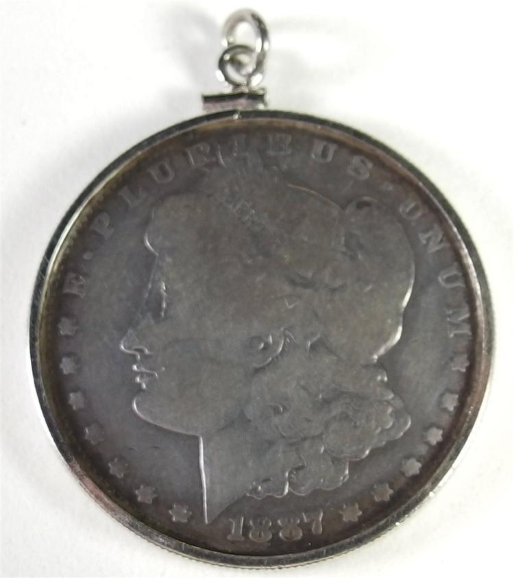 1887 MORGAN Silver Dollar in Bezel