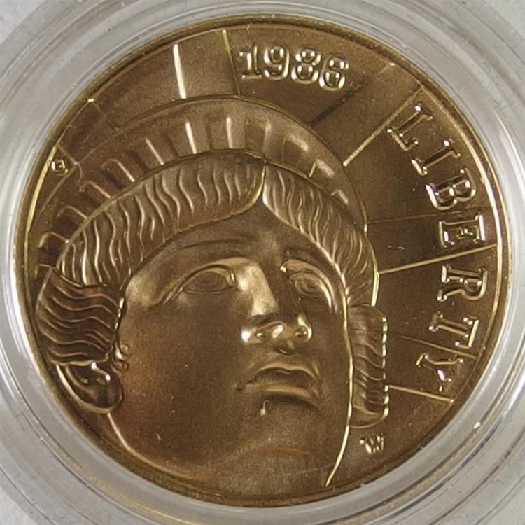 1/4 Ounce ($5) Five Dollar Gold Coin 100th Anniversary Statue of Liberty