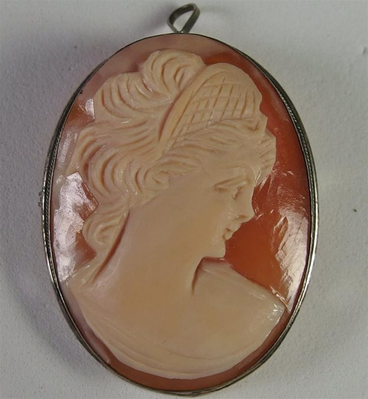 Antique Sterling Cameo Broach