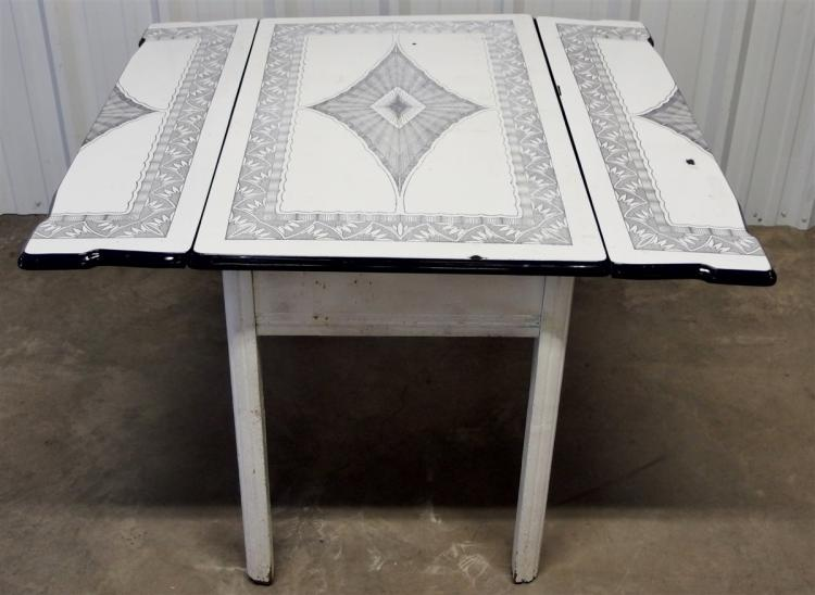 Vintage Enamel Top Kitchen Table with Wood Base