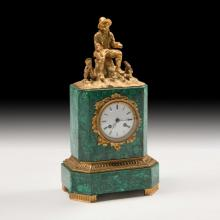 c. 1880's Gold-Plated Bronze and Malachite Mantle Clock