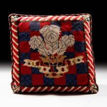 Royal Tapestry Pillow with Crown & Feather