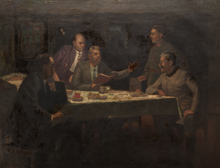 A RUSSIAN PAINTING OF GORKY READING TO STALIN, CIRCA 1940-50S