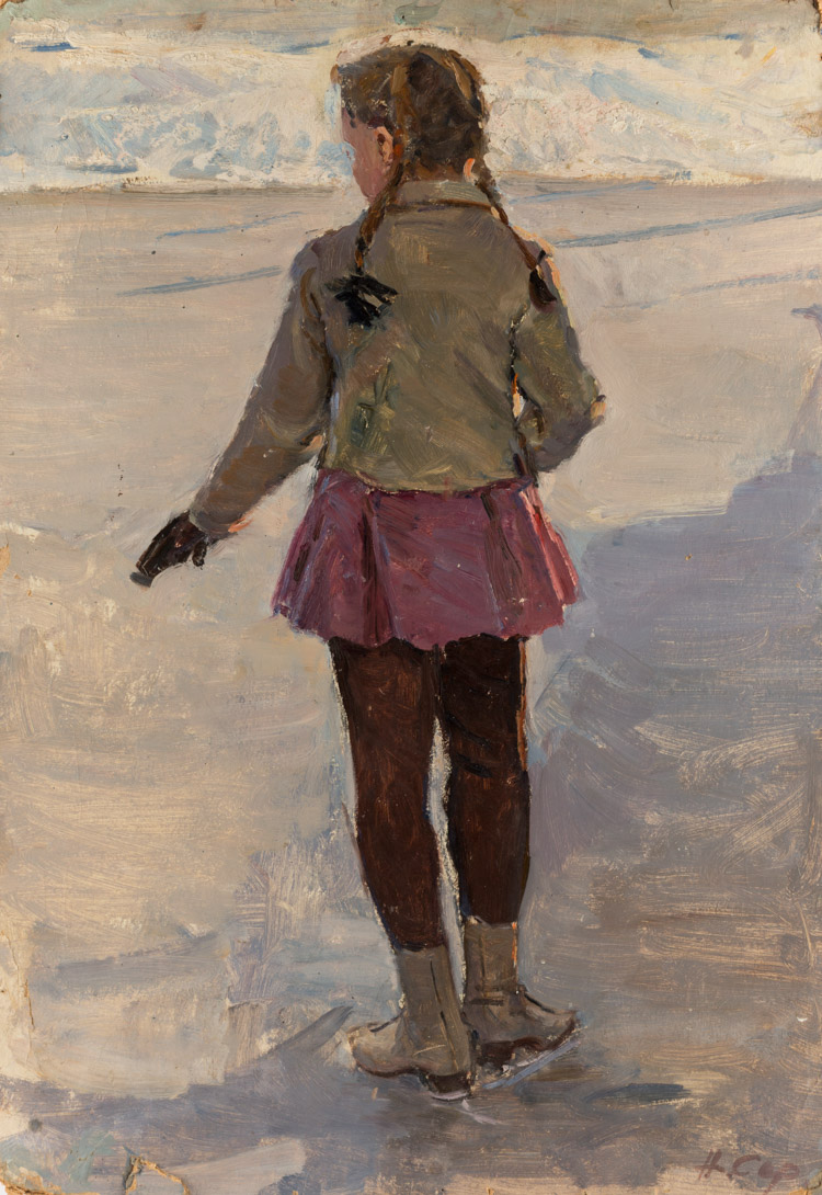 A RUSSIAN PAINTING OF A YOUNG FIGURIST BY SERGEEVA, 1952
