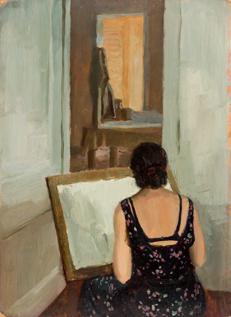 A RUSSIAN PAINTING OF A FEMALE ARTIST FROM THE BACK, CIRCA 1940S