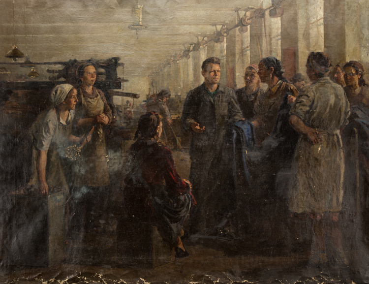 A RUSSIAN PAINTING OF A FACTORY BRIGADE BY ZELENY, 1950