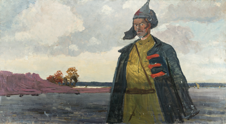 A RUSSIAN PAINTING OF THE RED GUARD SOLDIER BY ANGELIN, CIRCA 1917