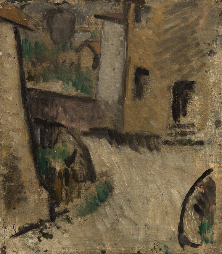 A CITYSCAPE PAINTING BY SHIFRIN, CIRCA 1910