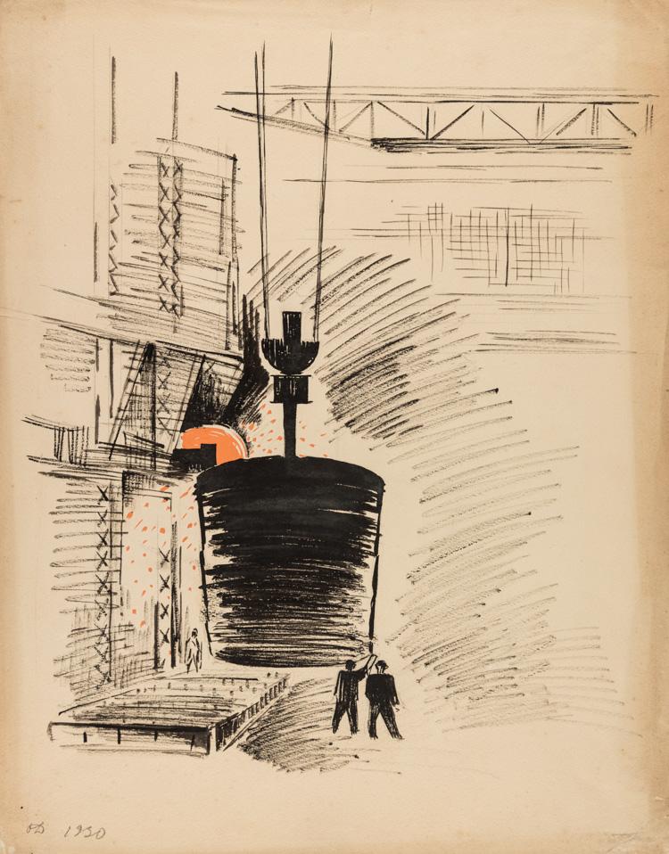 A RUSSIAN DRAWING OF A FACTORY SCENE BY DEINEKO, 1930
