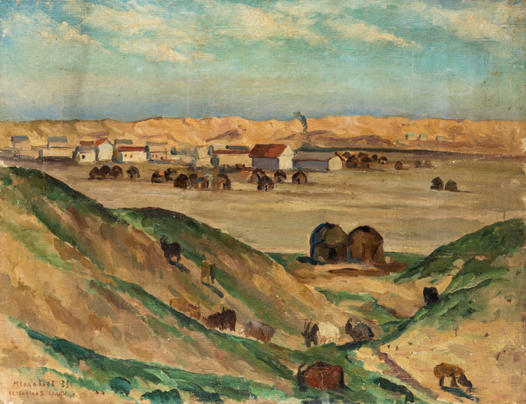 A RUSSIAN PAINTING OF PERSIAN BORDER BY SOLOVIEV, 1933